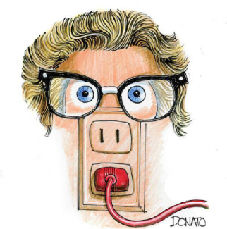 Cartoon depicting power outlet with wig and glasses