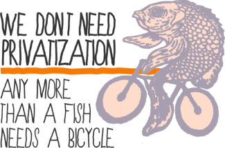 Fish riding a bicycle