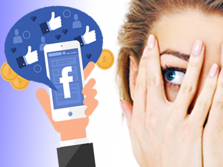 Woman tries to cover her eyes as a hand holds a cellphone with Facebook app on the screen